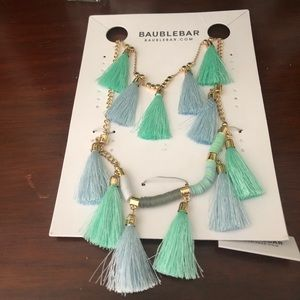 Bauble Bar tassel necklace NWT blue/green